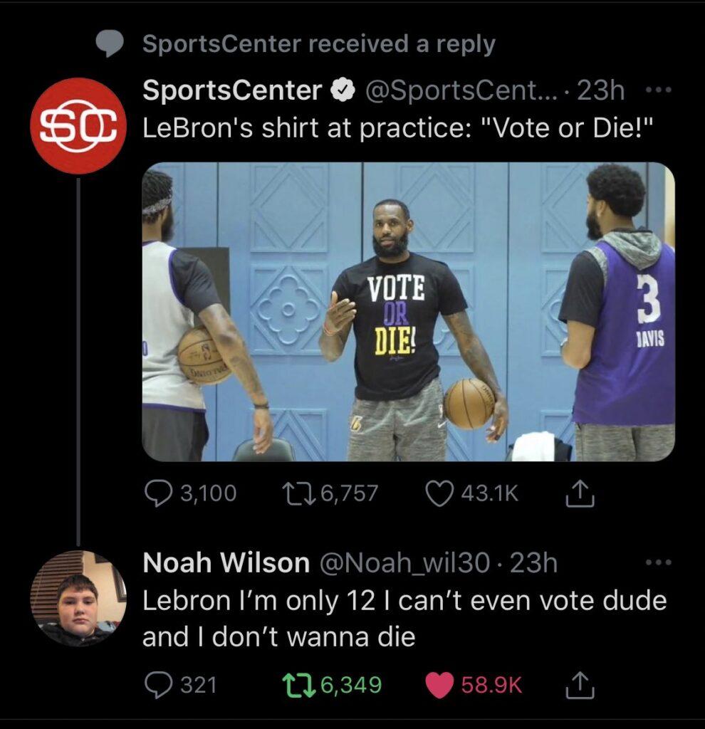 Respuesta de un niño a LeBron James