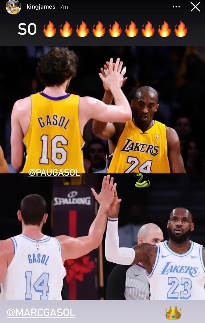 Foto de LeBron James en redes sociales con Marc Gasol y su comparación de la de Kobe Bryant y Paul Gasol